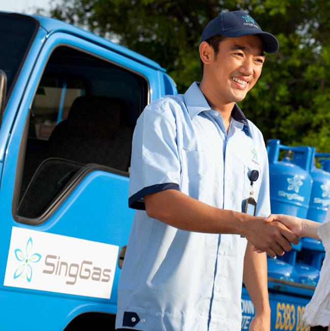 SingGas Employee delivering LPG gas