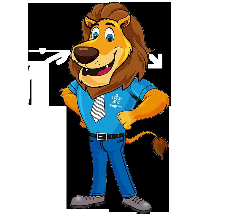 SingGas LPG Gas Delivery cartoon character