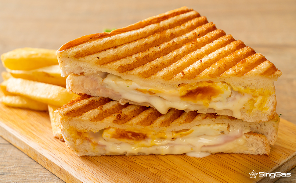 Korean style egg and cheese sandwich cooked using Lpg Gas
