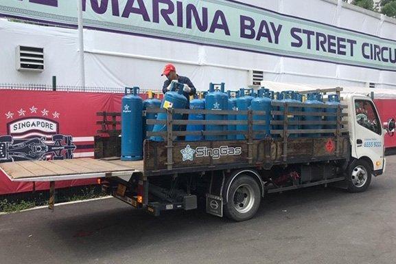 SingGas LPG cylinders in lorry